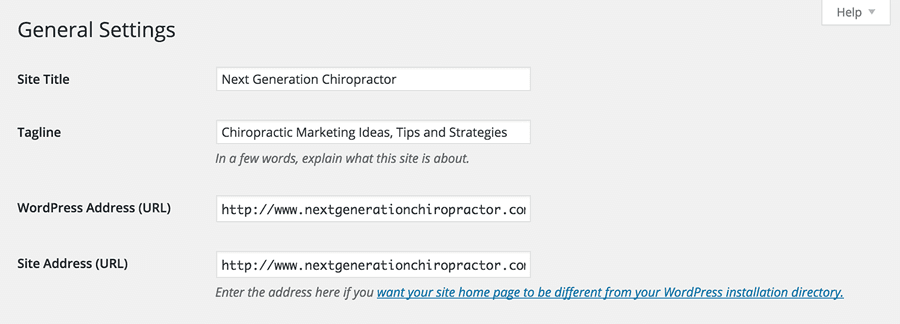chiropractic domain name wordpress